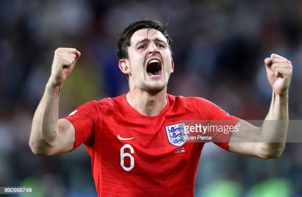 Harry Maguire of England celebrates victory following the 2018 FIFA World Cup Russia Round of 16 match between Colombia and England at Spartak...