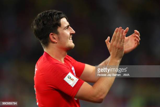 Harry Maguire of England celebrates winning a penalty shootout at the end of extra time during the 2018 FIFA World Cup Russia Round of 16 match...