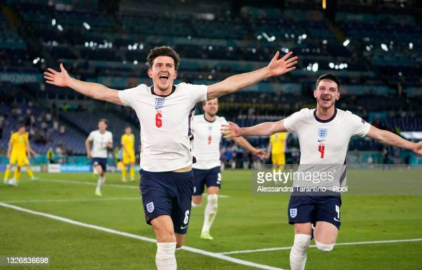 Harry Maguire of England celebrates with Declan Rice after scoring their side's second goal during the UEFA Euro 2020 Championship Quarter-final...
