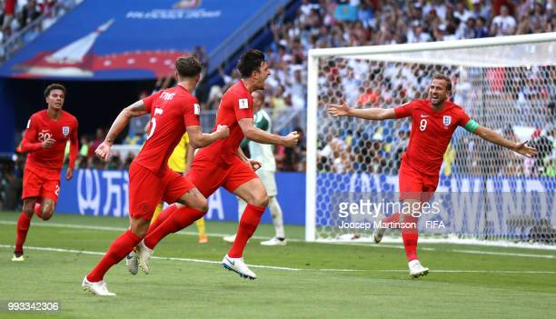 Harry Maguire of England celebrates with teammates after scoring his team's first goal during the 2018 FIFA World Cup Russia Quarter Final match...