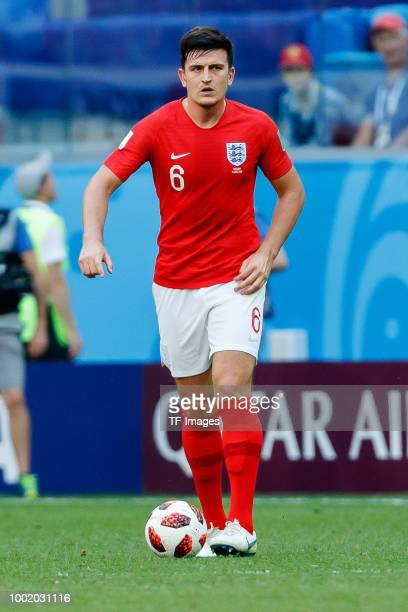Harry Maguire of England controls the ball during the 2018 FIFA World Cup Russia 3rd Place Playoff match between Belgium and England at Saint...