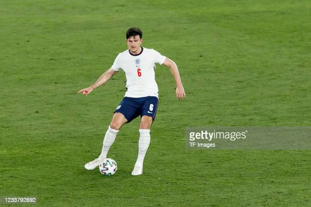 Harry Maguire of England controls the ball during the UEFA Euro 2020 Championship Quarter-final match between Ukraine and England at Olimpico Stadium...