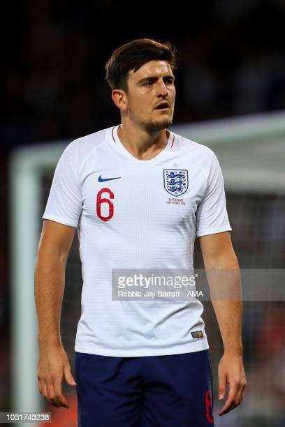 Harry Maguire of England during the International Friendly match between England and Switzerland at The King Power Stadium on September 11 2018 in...
