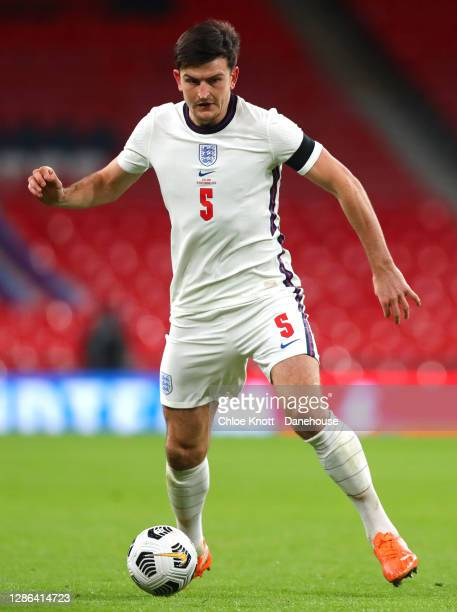 Harry Maguire of England during the UEFA Nations League group stage match between England and Iceland at Wembley Stadium on November 18 2020 in...
