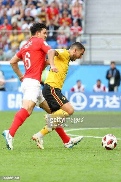 Harry Maguire of England Eden Hazard of Belgium during the 2018 FIFA World Cup Russia 3rd Place Playoff match between Belgium and England at Saint...