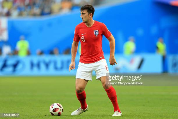 Harry Maguire of England in action during the 2018 FIFA World Cup Russia 3rd Place Playoff match between Belgium and England at Saint Petersburg...