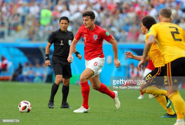 Harry Maguire of England in action during the FIFA 2018 World Cup Russia Playoff for third place match between Belgium and England at the Saint...