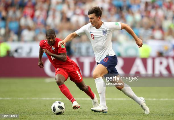 Harry Maguire of England is challenged by Armando Cooper of Panama during the 2018 FIFA World Cup Russia group G match between England and Panama at...