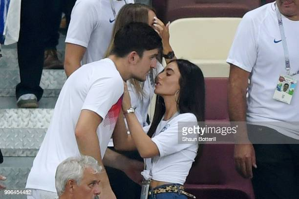 Harry Maguire of England is consoled by his girlfriend Fern Hawkins following England's defeat in the 2018 FIFA World Cup Russia Semi Final match...