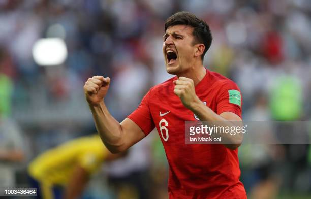 Harry Maguire of England is seen during the 2018 FIFA World Cup Russia Quarter Final match between Sweden and England at Samara Arena on July 7 2018...