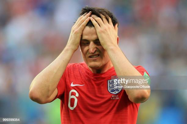 Harry Maguire of England looks dejected during the 2018 FIFA World Cup Russia 3rd Place Playoff match between Belgium and England at Saint Petersburg...