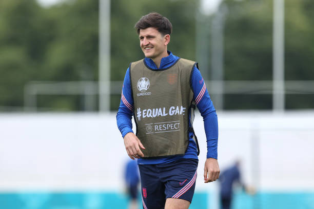 Harry Maguire of England looks on during the England Training Session at St George's Park on June 17, 2021 in Burton upon Trent, England.