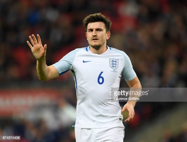 Harry Maguire of England looks on during the International Friendly match between England and Brazil at Wembley Stadium on November 14 2017 in London...