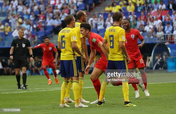 Harry Maguire of England reacts after he scores during the 2018 FIFA World Cup Russia Quarter Final match between Sweden and England at Samara Arena...