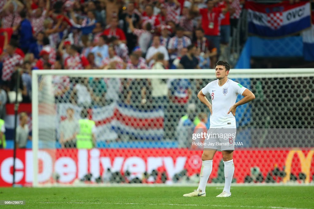 Harry Maguire of England reacts after Mario Mandzukic of Croatia scored a goal to make it 2-1 in extra time during the 2018 FIFA World Cup Russia Semi Final match between Croatia and England at Luzhniki Stadium on July 11, 2018 in Moscow, Russia.