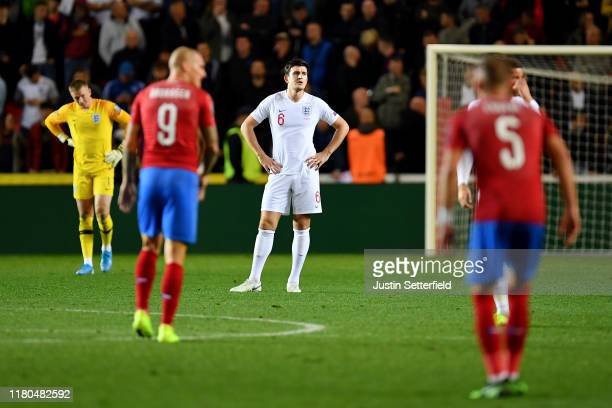 Harry Maguire of England reacts after Zdenek Ondrasek of Czech Republic scores his sides second goal during the UEFA Euro 2020 qualifier between...