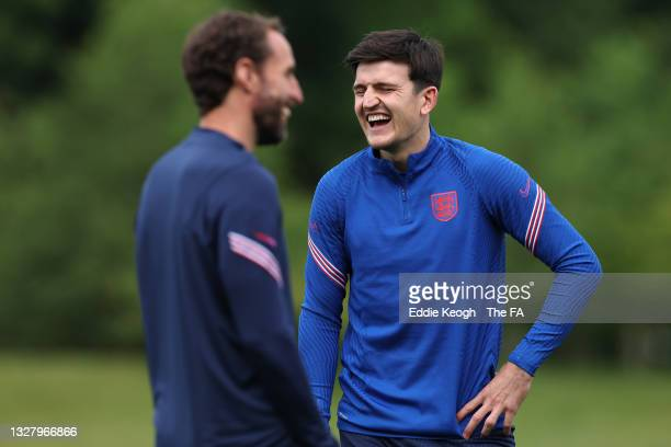 Harry Maguire of England reacts during the England Training Session at St George's Park on July 10, 2021 in Burton upon Trent, England.