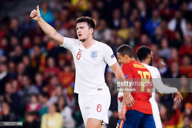 Harry Maguire of England reacts during the UEFA Nations League A Group Four match between Spain and England at Estadio Benito Villamarin on October...