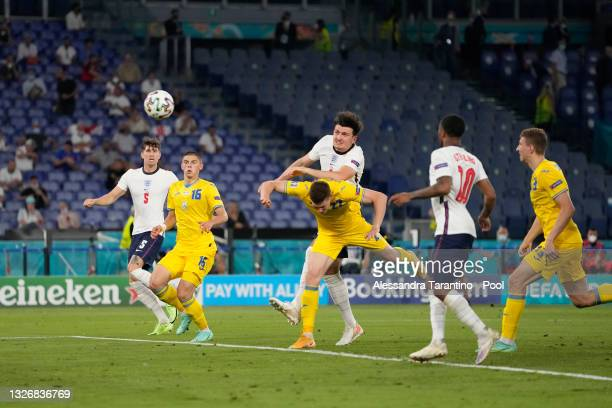 Harry Maguire of England scores their side's second goal during the UEFA Euro 2020 Championship Quarter-final match between Ukraine and England at...