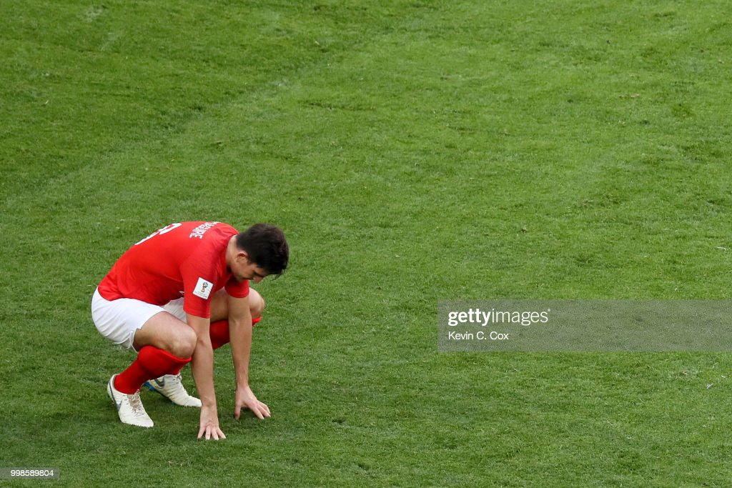 Harry Maguire of England shows his dejection following Belgium's second goal during the 2018 FIFA World Cup Russia 3rd Place Playoff match between Belgium and England at Saint Petersburg Stadium on July 14, 2018 in Saint Petersburg, Russia.