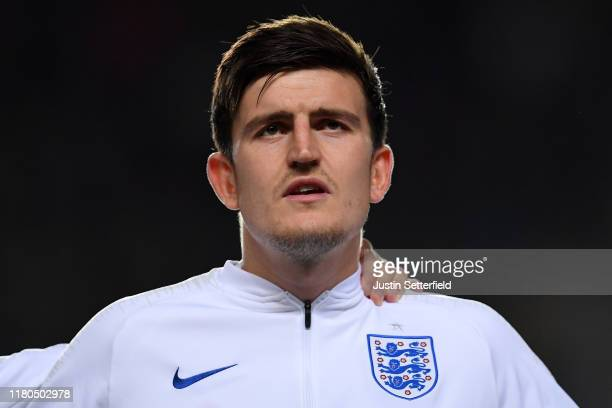 Harry Maguire of England sings the national anthem during the UEFA Euro 2020 qualifier between Czech Republic and England at Sinobo Stadium on...