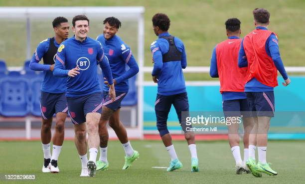 Harry Maguire of England trains during the England Training Session at St George's Park on June 10, 2021 in Burton upon Trent, England.