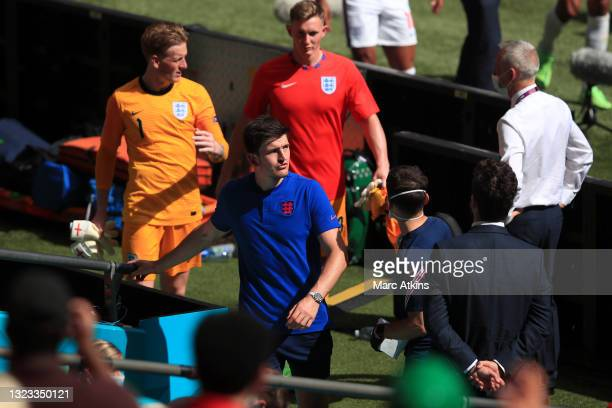Harry Maguire of England walks down the tunnel following the UEFA Euro 2020 Championship Group D match between England and Croatia at Wembley Stadium...