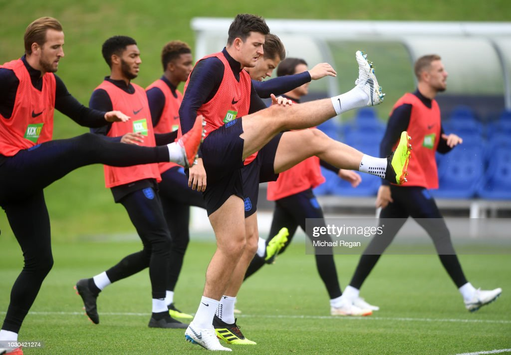Harry Maguire of England warms up during a training session at St Georges Park on September 10, 2018 in Burton-upon-Trent, England.