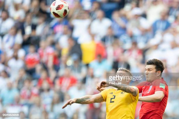 Harry Maguire of England wins a header from Toby Alderweireld of Belgium during the 2018 FIFA World Cup Russia 3rd Place Playoff match between...
