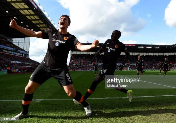 Harry Maguire of Hull City celebrates scoring his sides first goal during the Premier League match between Stoke City and Hull City at Bet365 Stadium...