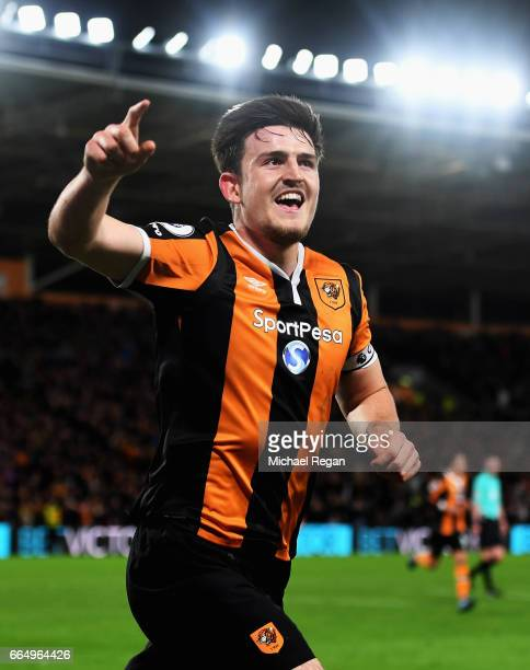 Harry Maguire of Hull City celebrates scoring his sides fourth goal during the Premier League match between Hull City and Middlesbrough at the KCOM...
