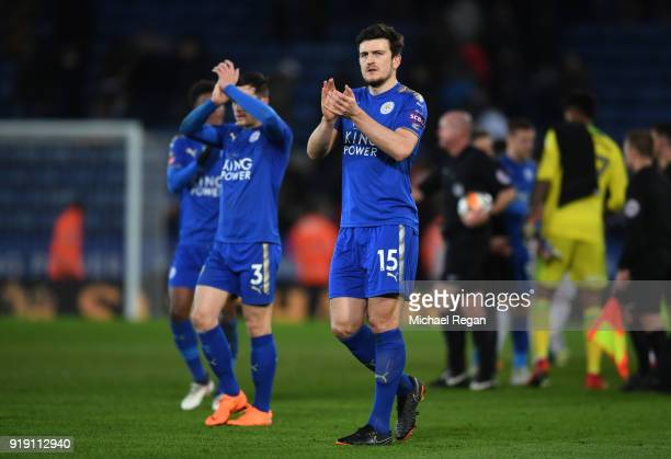 Harry Maguire of Leicester acknowledges the fans after the Emirates FA Cup Fifth Round match between Leicester City and Sheffield United at The King...