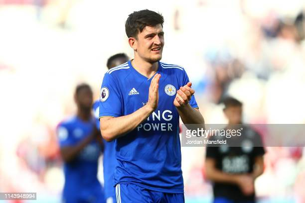 Harry Maguire of Leicester City acknowledges the fans following the Premier League match between West Ham United and Leicester City at London Stadium...