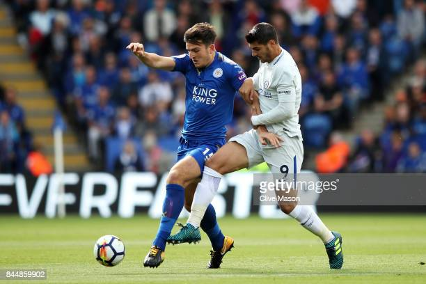 Harry Maguire of Leicester City and Alvaro Morata of Chelsea battle for possession during the Premier League match between Leicester City and Chelsea...