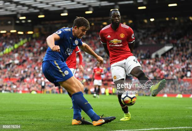 Harry Maguire of Leicester City and Romelu Lukaku of Manchester United in action during the Premier League match between Manchester United and...