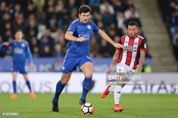 Harry Maguire of Leicester City and Samir Carruthers of Sheffield United during the Emirates FA Cup Fifth Round match between Leicester City and...