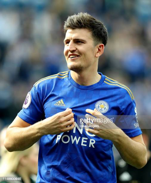 Harry Maguire of Leicester City applauds the crowd during the Premier League match between Leicester City and Chelsea FC at The King Power Stadium on...