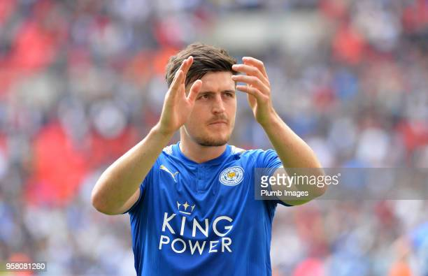 Harry Maguire of Leicester City applauds the travelling fans after the Premier League match between Tottenham Hotspur and Leicester City at Wembley...