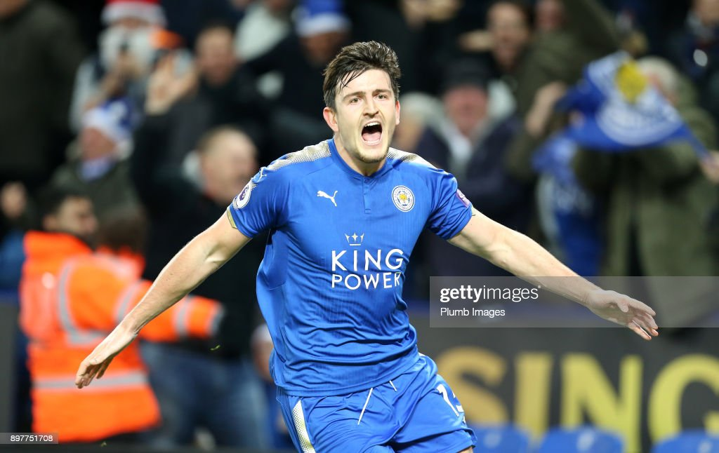 Harry Maguire of Leicester City celebrates after scoring to make it 2-2 during the Premier League match between Leicester City and Manchester United at King Power Stadium on December 23rd , 2017 in Leicester, United Kingdom.