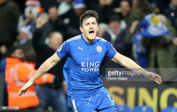 Harry Maguire of Leicester City celebrates after scoring to make it 2-2 during the Premier League match between Leicester City and Manchester United...