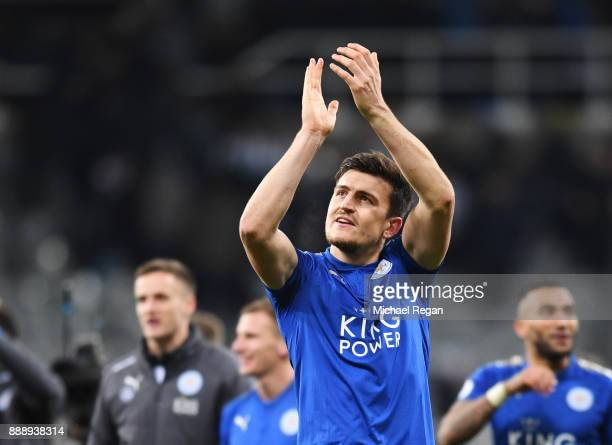 Harry Maguire of Leicester City celebrates after the Premier League match between Newcastle United and Leicester City at St James Park on December 9...