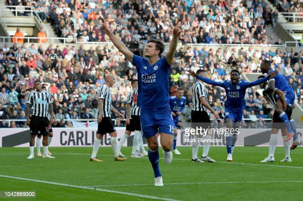 Harry Maguire of Leicester City celebrates scoring his sides second goal during the Premier League match between Newcastle United and Leicester City...
