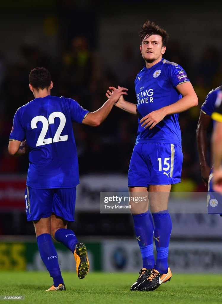 Harry Maguire of Leicester City celebrates scoring their first goal during the Pre-Season Friendly match between Burton Albion v Leicester City at Pirelli Stadium on August 1, 2017 in Burton-upon-Trent, England.