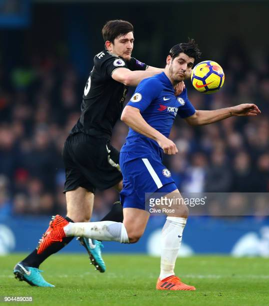 Harry Maguire of Leicester City challenges Alvaro Morata of Chelsea during the Premier League match between Chelsea and Leicester City at Stamford...