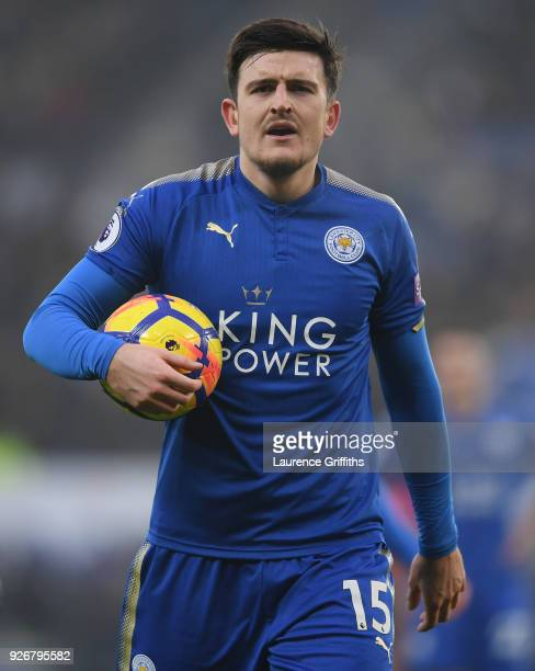 Harry Maguire of Leicester City confronts the linesman during the Premier League match between Leicester City and AFC Bournemouth at The King Power...
