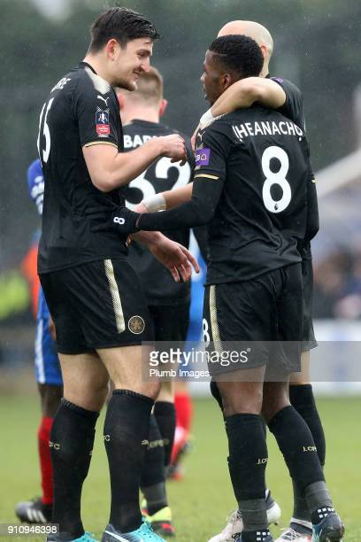 Harry Maguire of Leicester City congratulates Kelechi Iheanacho of Leicester City after he scores to make it 02 during The Emirates FA Cup Fourth...