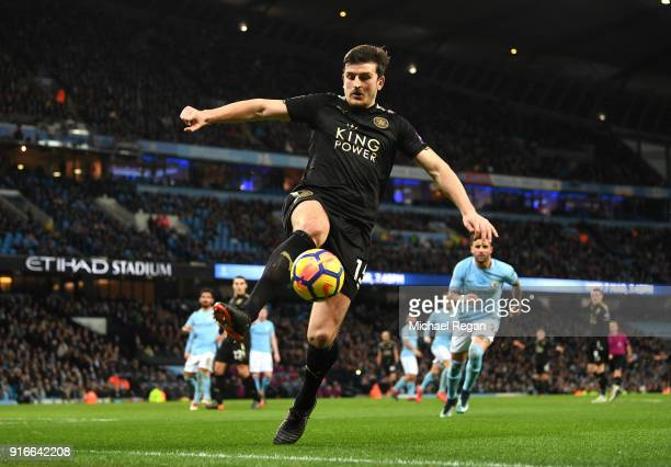 Harry Maguire of Leicester City controls the ball during the Premier League match between Manchester City and Leicester City at Etihad Stadium on...