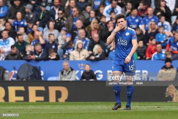 Harry Maguire of Leicester City dejected after Jonjo Shelvey of Newcastle United scores a goal to make it 10 during the Premier League match between...