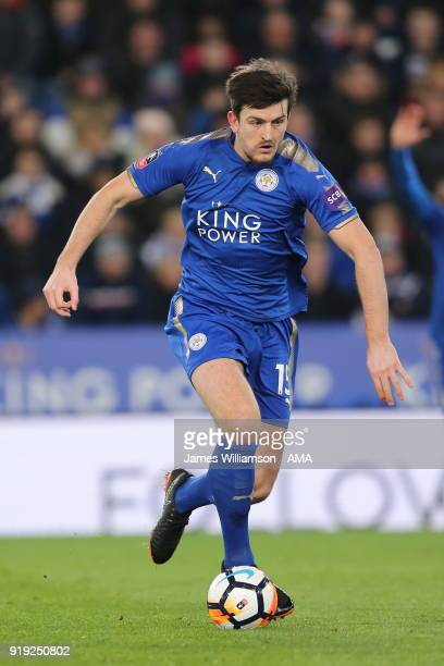 Harry Maguire of Leicester City during the Emirates FA Cup Fifth Round match between Leicester City and Sheffield United at The King Power Stadium on...