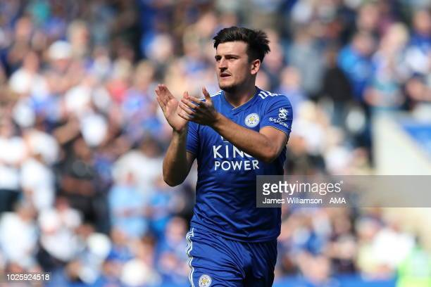 Harry Maguire of Leicester City during the Premier League match between Leicester City and Liverpool FC at The King Power Stadium on September 1 2018...